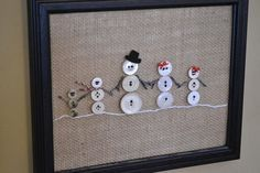 Snowman family button artwork…. omg so cute w black buttons for the dog and grey for the cat