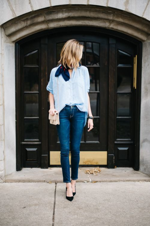 Love the loose blouse and scarf with dark denim! Simple and pretty with flats!: