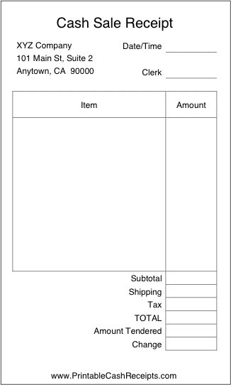 A Basic, Airy Cash Receipt With Plenty Of Room To Write In Details