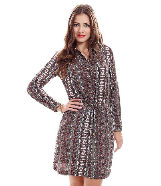 Vestido Chemise Feminino Estampado - Lojas Renner