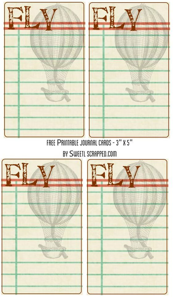 Free Printable Fly journal cards with hot air balloon :)