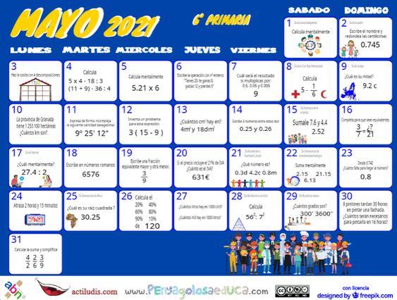Calendario Sexto ABN – Mayo 2021