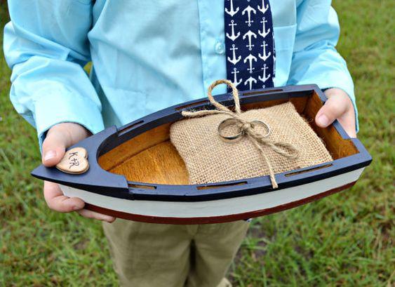 nautical themed wedding ring holder-ring bearer-boat-wedding cake topper-beach-destination-ring holder-ring pillow-ring box-anchor-sailboat: