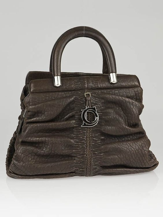 Christian Dior Brown Lambskin Leather