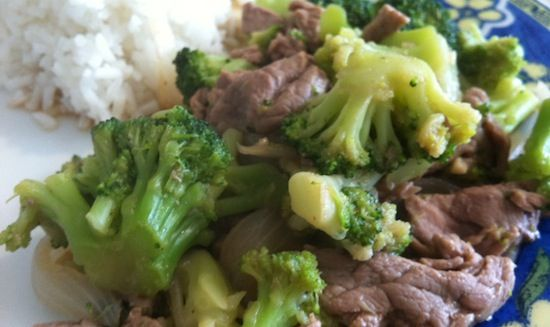 Beef and broccoli with rice.
