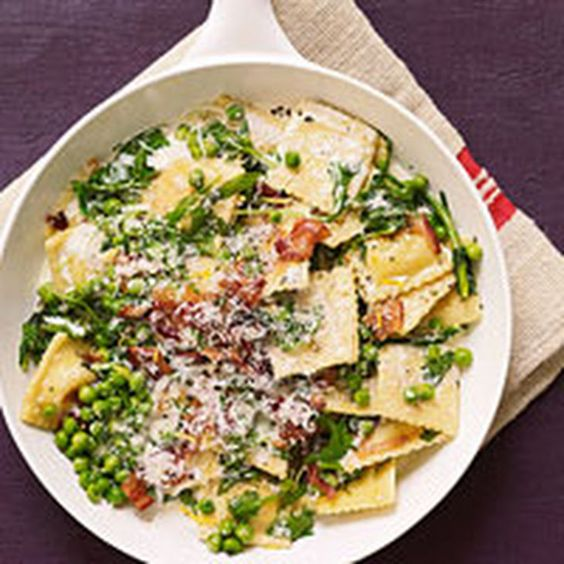Pan-Seared Ravioli with Peas, Bacon and Mint Recipe Main Dishes with smoked bacon, frozen cheese ravioli, frozen peas, heavy cream, garlic, arugula, fresh mint, shredded parmesan cheese, lemon zest, salt, pepper