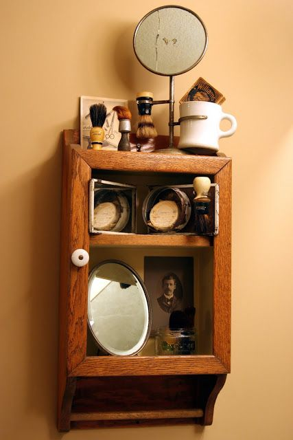 Antique Barber Collection In An Old Medicine Cabinet Very