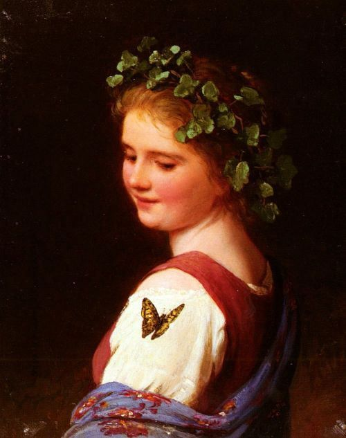 """The Butterfly"" (1878), by German artist - Johann Georg Meyer von Bremen (1813-1886), Oil on panel, 15.2 x 12.1 cm (5.98 x 4.76 in), Private Collection."