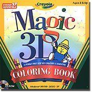 Crayola Magic 3D First Step Coloring Book by CRAYOLA. $7.98. Preschoolers can create beautiful 3D pictures with a simple click of a mouse. Seventy pictures to color, plus fun-filled activities! Children will have fun creating dazzling 3D pictures using 13 wacky textures and patterns and 70 images along with 21 fun glitter crayons!. Save 20% Off!