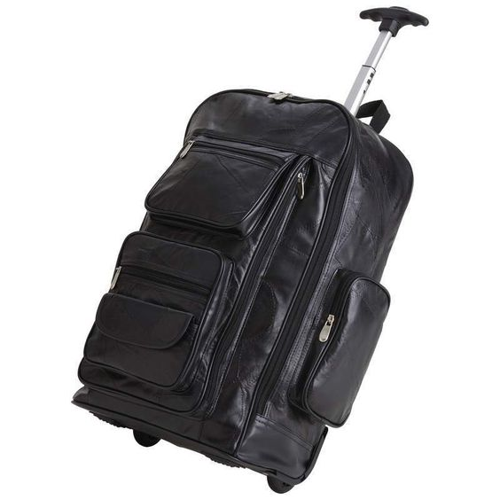 Details about 24 Inch Rolling Trolley Bag Genuine Black leather ...
