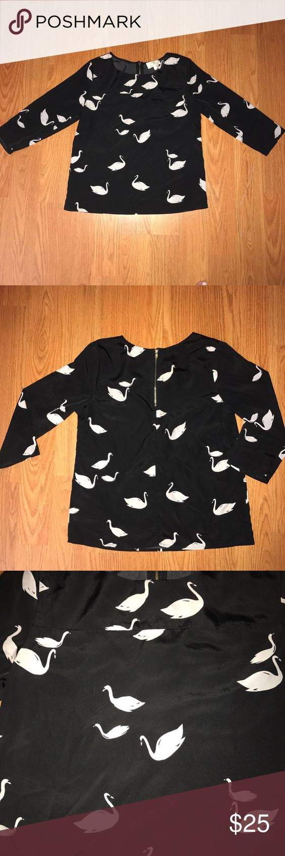 Collective concepts swan blouse 100% polyester zipper in upper part of back just super cute Collective Concepts Tops Blouses