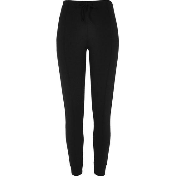 River Island Black bound ponte leggings ($26) ❤ liked on Polyvore featuring pants, leggings, trousers, ponte trousers, river island, cuffed pants, ponte pants and ponte knit pants