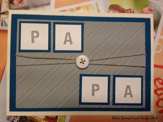 Stampin Up, Vatertag, Fatherday, Prägeform Schrägstreifen, Knopf, Button, ABC-123 Sketch Alphabet & Numbers