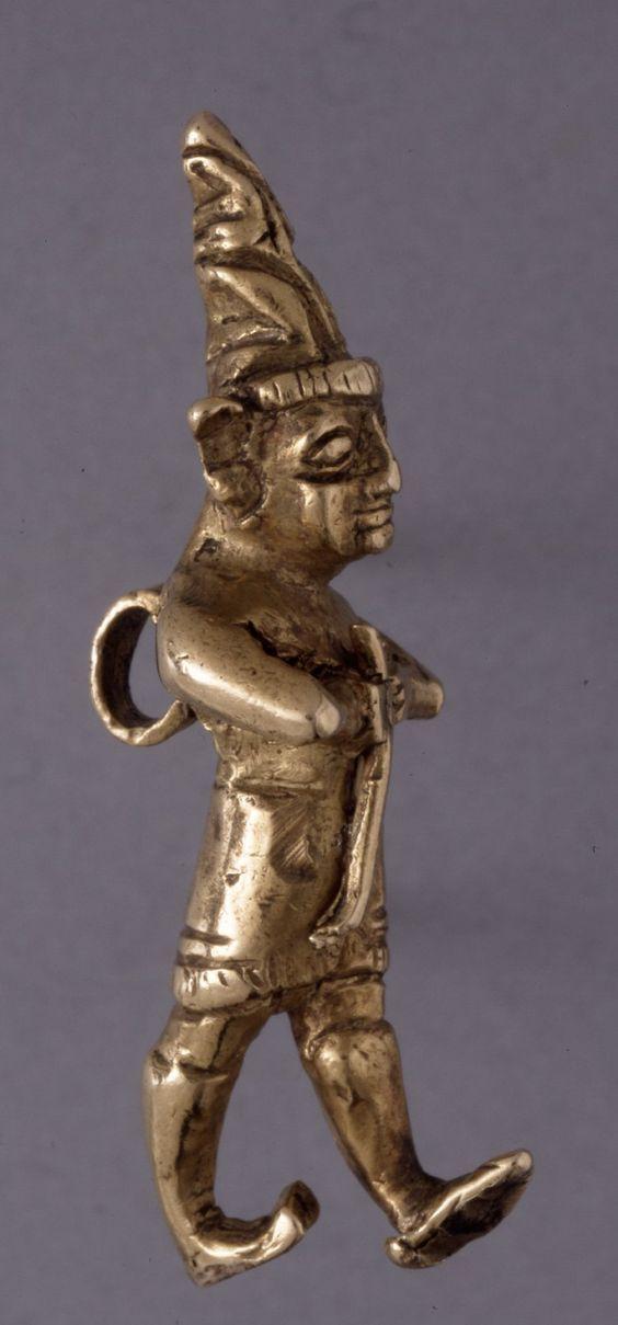 Small gold amulet of a Hittite god holding a mace. Hittite. 1400 B.C. - 1200 B.C. | The British Museum