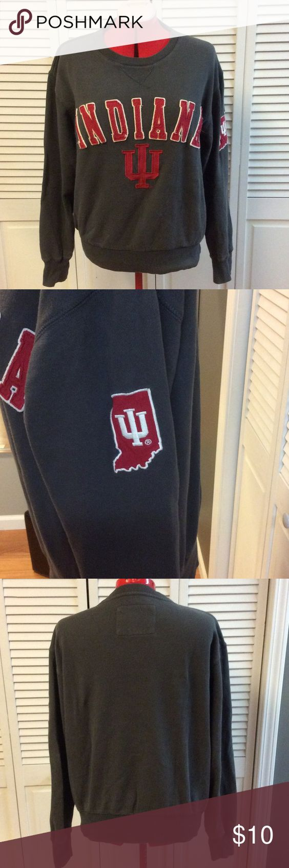 Indiana University IU Crew Neck Sweatshirt Small Vintage look crew neck sweatshirt - extremely soft, gray color with sewn on letters - not screen print. One small hole - can easily be stitched - but adds to vintage look 😉 Campus Heritage Tops Sweatshirts & Hoodies