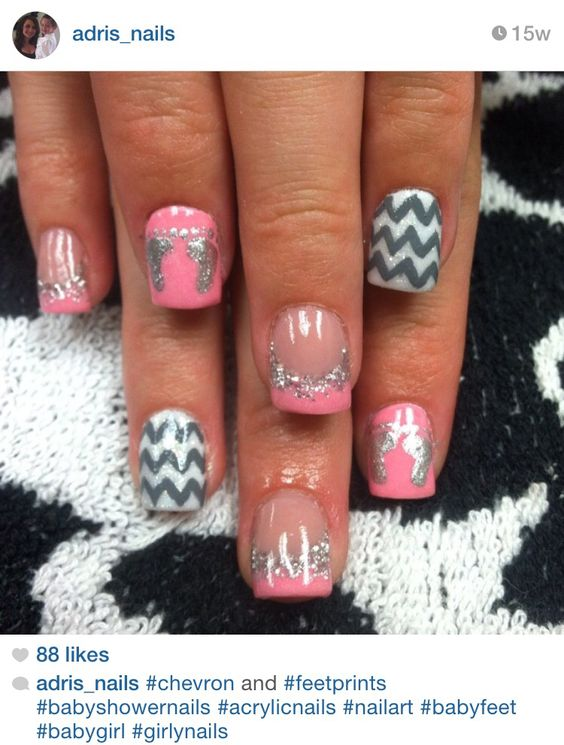 Baby shower chevron and baby feet acrylic nails by @adris_nails