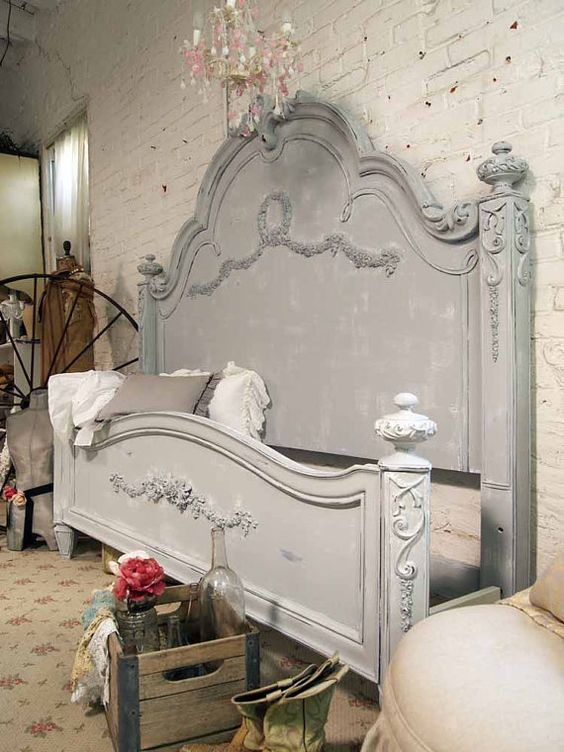 2 grand yikes soft grey french provincial headboard for Painted on headboard