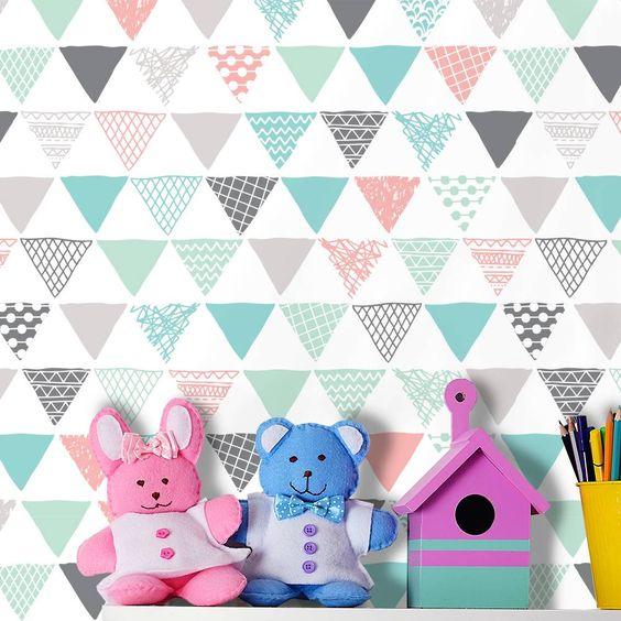 Papel de parede geométrico triângulos cinza, rosa, azul e  ~ Quarto Rosa Com Papel De Parede