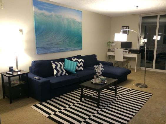 Ikea Kivik Sofa In Orsta Dark Blue Living Room