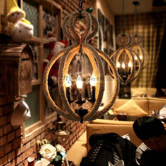 Europa Soort Creatieve Persoonlijkheid Retro Gecontracteerd Restaurant Bar Cafe Edison Hennep Touw Hanger Lampen Plhr30 Gratis Restaurant Bar Restaurant Retro
