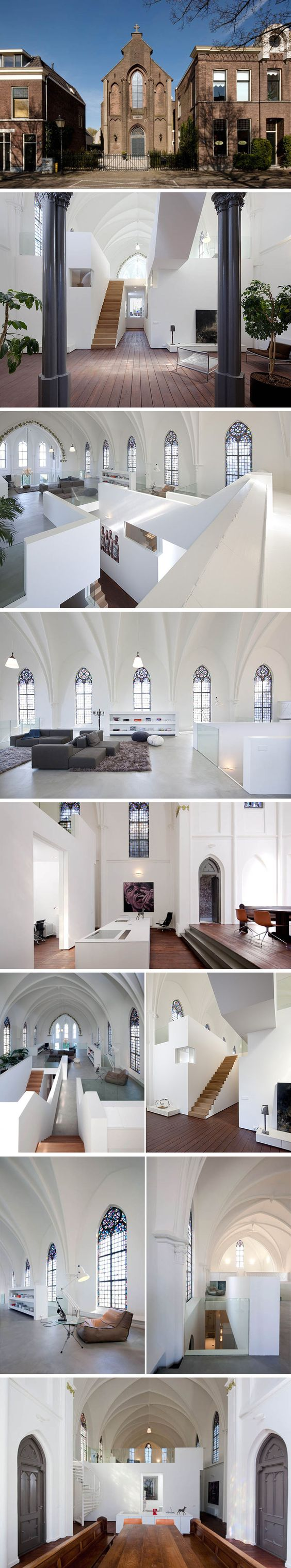Way too modern if a take for me. Kinda feel like the space had been ruined. .. but i love that a church had been converted. So cool. ....St jakobus church converted into a home acchomplished by Zecc Architects location in Utrecht, Netherlands