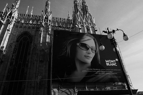 Mont Blanc Poster at Duomo in Milano, Italy