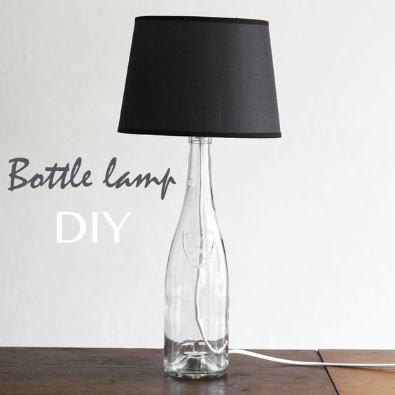 Bottle Lamp: Turn a glass bottle into this modern-looking lamp with these steps.  Source: Flickr user Lana Red