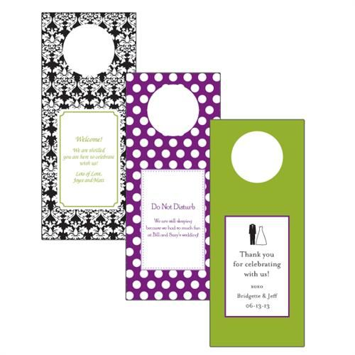 Love this idea for out of town wedding guests... personalized door hangers for their hotel rooms.