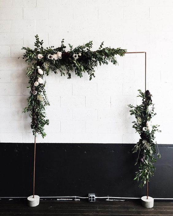 budget backyard wedding ceremony decorations altar plants