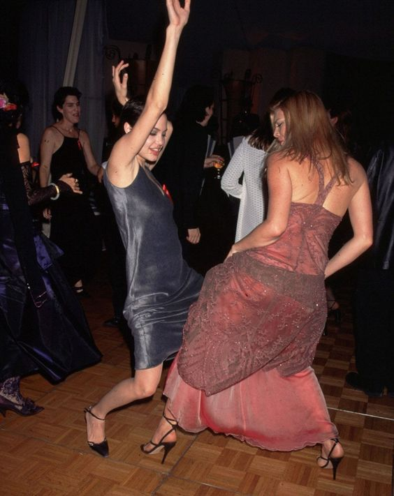 Angelina Jolie & Peta Wilson dancing at the 1997 Cable ACE Awards