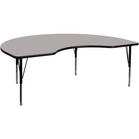 Flash Furniture 48''W x 72''L Kidney Shaped Activity Table with 1.25'' Thick High Pressure Grey Laminate Top and Height Adjustable Preschool Legs, Gray