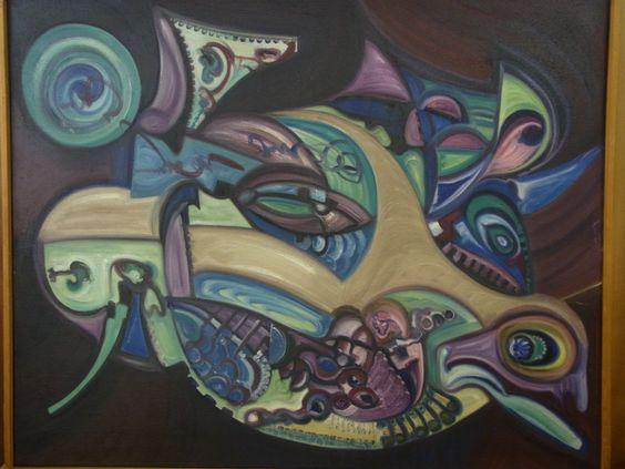 Modern schilderij op doek. Mooie kleuren en  paarse tinten. Afmetingen totaal: 83 hoog, 102 cm breed.  Prijs € 99.00