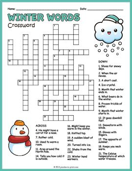 Early Finisher Winter Crossword Puzzle Word Puzzles For Kids Crossword Puzzle Crossword