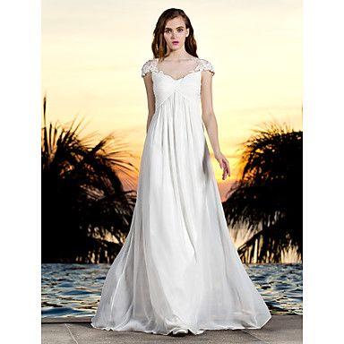 gaine / colonne bateau-parole longueur georgette et robe de mariée en tulle (788853) - EUR € 145.45