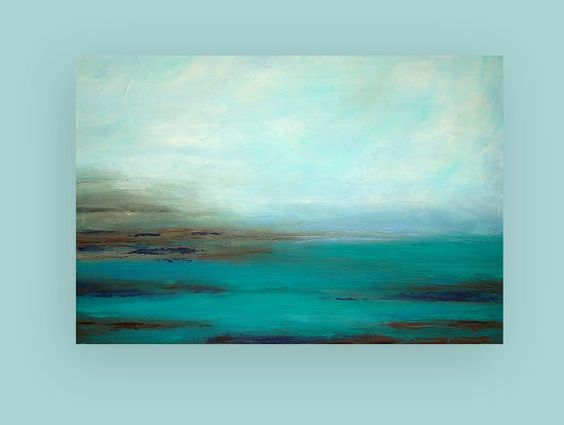 Acrylic Abstract Painting Fine Art Turquoise door OraBirenbaumArt