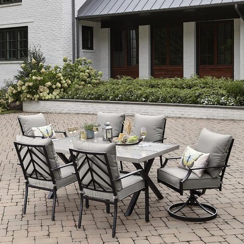 Sutton Rowe Silver Springs 7pc Dining Set Gray Kmart Patio