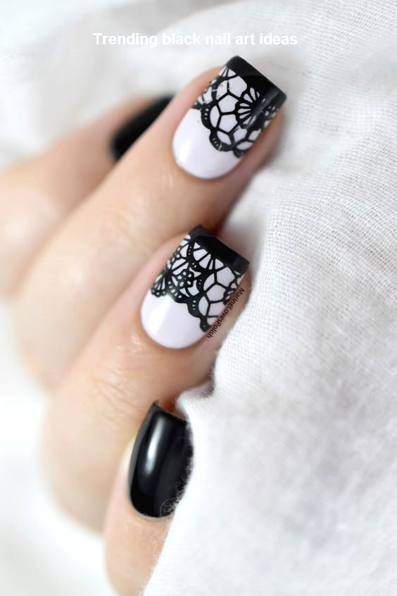 20 Simple Black Nail Art Design Ideas Naildesigns Lace Nail
