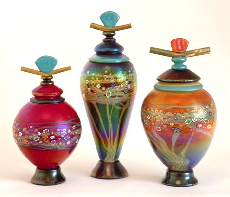 Lidded vessels with hand drawn hot glass tree and vines for Anderson art glass