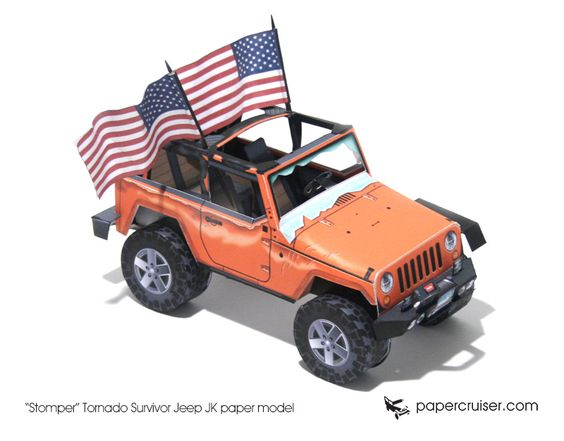 """Stomper"" Tornado Survivor Jeep JK paper model   papercruiser.com"