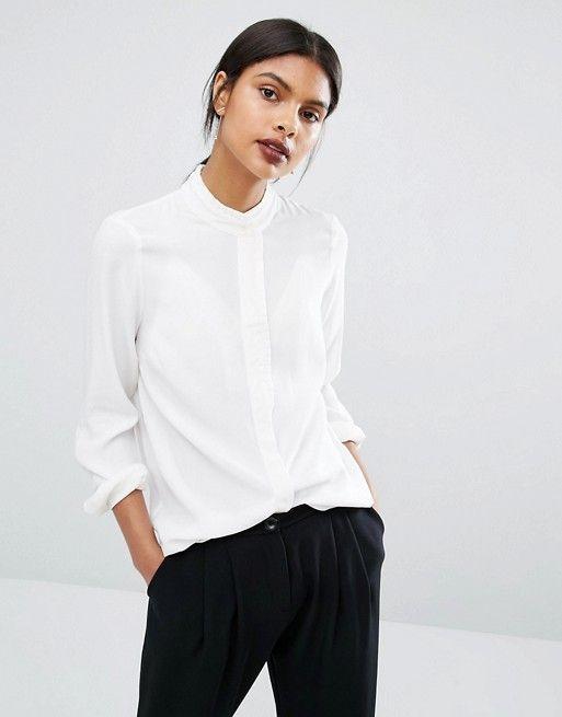 Y.A.S | Camisa de manga larga con cuello y detalle de volantes Mily de Y.A.S