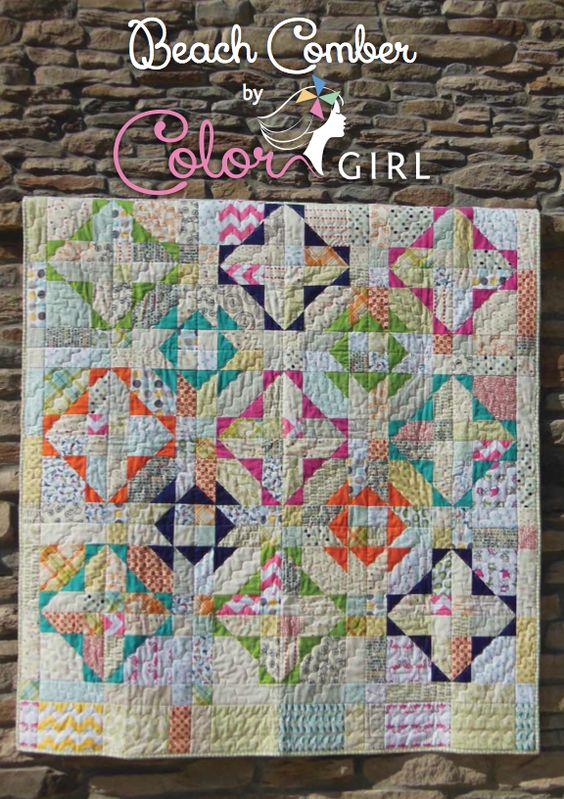 Beach Comber Quilt - great way to feature low volume fabrics in a dynamic quilt pattern by ...