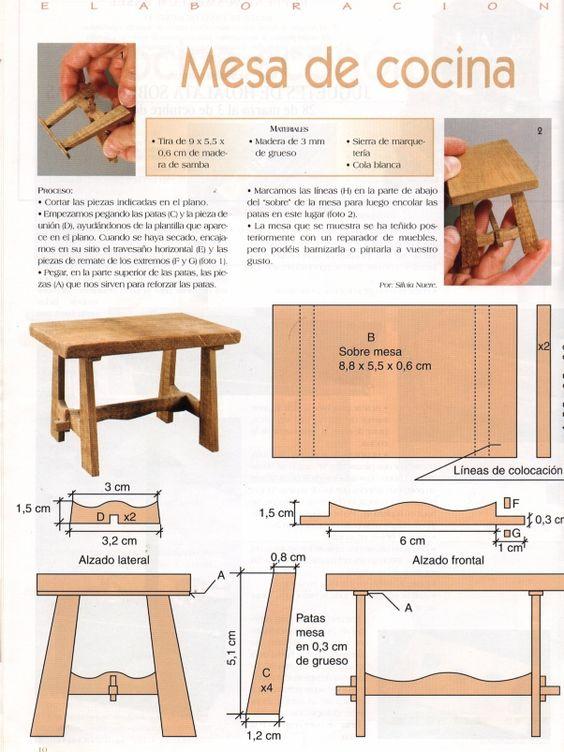 Mesa r stica de cocina en miniatura rustic miniature - Mesa de cocina rustica ...