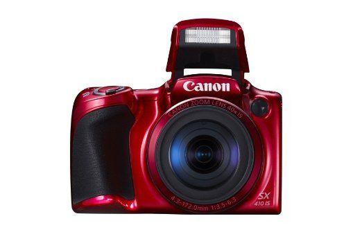 """Canon PowerShot SX410 IS - Cámara compacta de 20 Mp (pantalla de 3"""", zoom óptico 40x/80x, estabilizador óptico, grabación de vídeo HD), roja"""