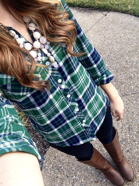 | Casual  Friday | Plaid + Bubble necklace + Skinnies + Riding Boots