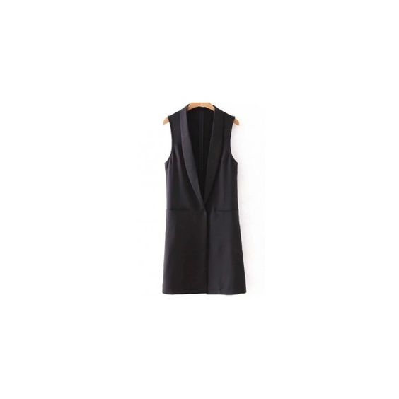 Shawl Collar Two Pockets Waistcoat (€22) ❤ liked on Polyvore featuring outerwear and vests