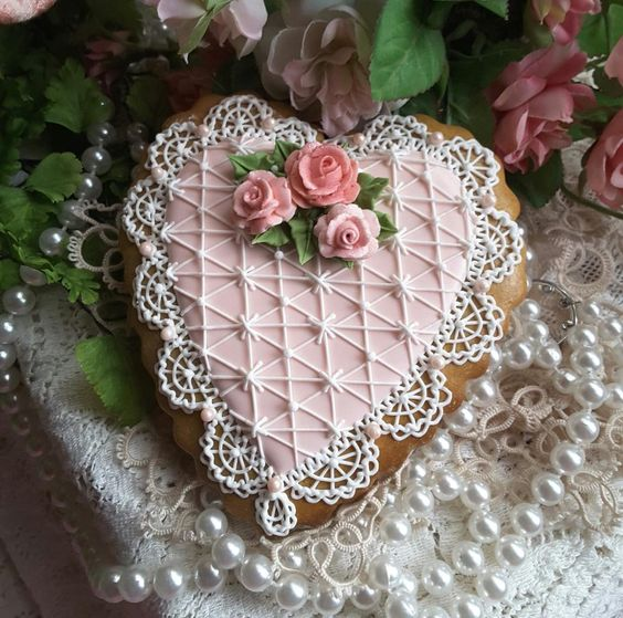 Sweet pink heart with lace and roses by Teri Pringle Wood