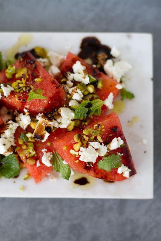 Pretty. Easy. Feta Watermelon Pistachio Mint Salad - Aida Mollenkamp