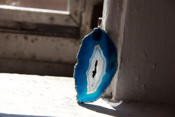 Blue Agate Stone Pendant
