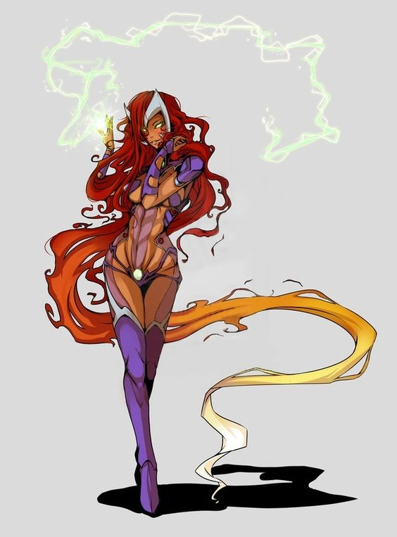 """Starfire (Koriand'r) is a fictional character, a super-heroine in the DC Comics universe. Created by Marv Wolfman and George Pérez, she debuted in a preview story inserted within DC Comics Presents #26 in 1980. Koriand'r is the most prominent Starfire, and the fourth character to use that name. In 2013, Starfire placed 21st on IGN's Top 25 Heroes of DC Comics, and ranked 20th in Comics Buyer's Guide's """"100 Sexiest Women in Comics"""" list."""