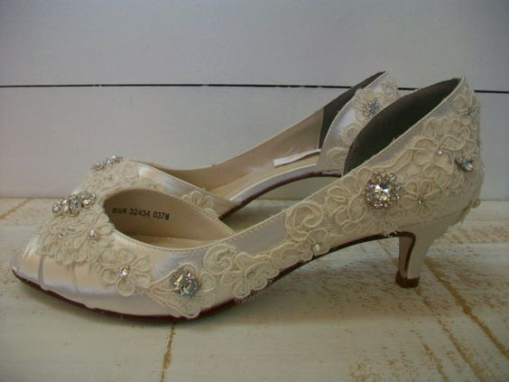 Wedding Shoes - Antique Lace- Vintage Lace Shoes - Vintage Theme Wedding - Choose Your Heel Height - Custom Shoe Colors - Crystals - Pearls